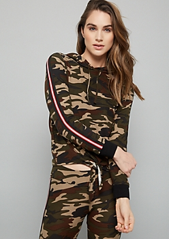 Camo Print Side Striped Tie Front Super Soft Hoodie