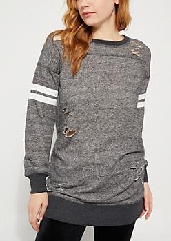 Charcoal Gray Distressed Varsity Sweatshirt