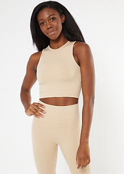 Tan High Neck Seamless Tank Top
