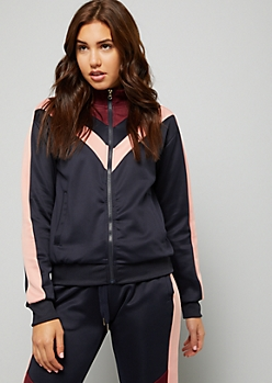 Navy Chevron Side Striped Zip Front Track Jacket
