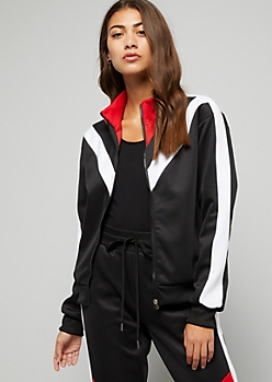 Black Asymmetrical Striped Zip Front Jacket