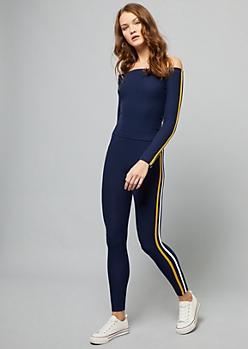 Navy Side Striped Off The Shoulder Crop Top