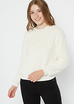 Ivory Faux Fur Crew Neck Sweatshirt