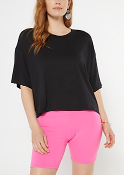 Black Drop Sleeve Boxy Tee