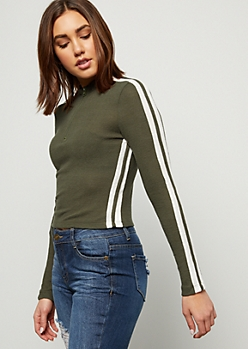 Dark Olive Side Striped Half Zip Skimmer Sweater