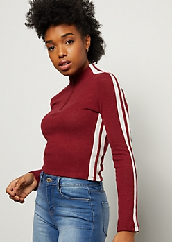 Burgundy Side Striped Half Zip Pullover