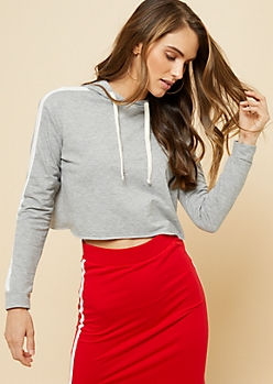 Heather Gray Side Striped Sleeve Cropped Hoodie