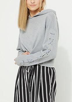 Gray Lace Up Sleeve Crop Hoodie
