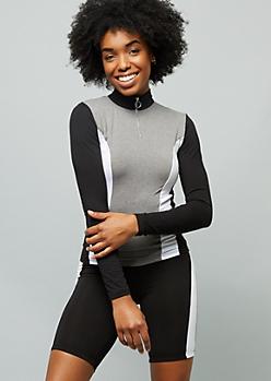 Gray Colorblock Super Soft Half Zip Top