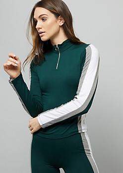 Dark Green Colorblock Super Soft Pullover