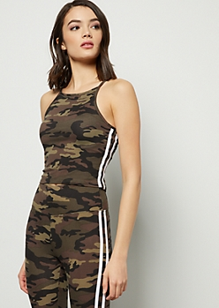 Camo Print High Neck Super Soft Side Striped Cropped Tank Top