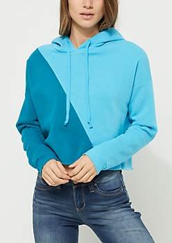 Blue Colorblock Cropped Hoodie