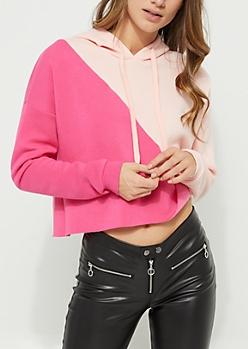 Pink Colorblock Cropped Hoodie