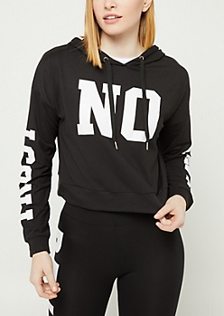 Black Trust No One Super Soft Cropped Hoodie