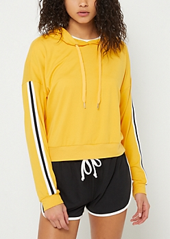 Yellow Varsity Striped Super Soft Cropped Hoodie