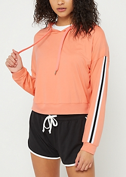 Coral Varsity Striped Super Soft Cropped Hoodie