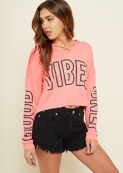 Neon Pink Good Vibes Caged Skimmer Hoodie