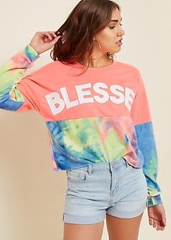 Bright Tie Dye Blessed Skimmer Sweatshirt