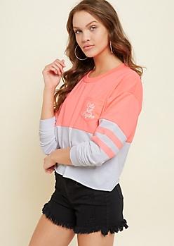Neon Pink Cute But Psycho Colorblock Sweatshirt
