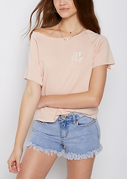 Pink Girl Power Lace Up Cropped Sweatshirt