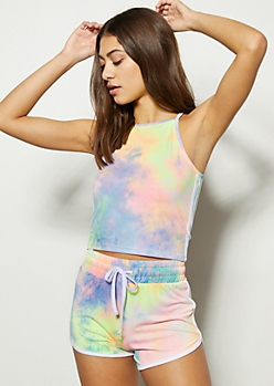 Rainbow Tie Dye Super Soft Cropped Tank Top