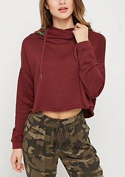 Burgundy Embroidered Rose Cropped Hoodie