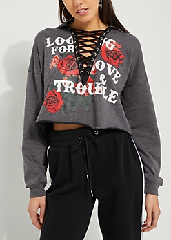 Gray Love and Trouble Lace Up Cropped Hoodie