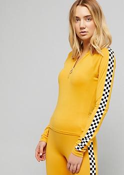 Yellow Checkered Print Zip Skimmer Top