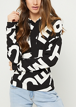 White Letter Print Pullover Hoodie