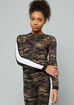 Camo Print Side Striped Half Zip Crop Top