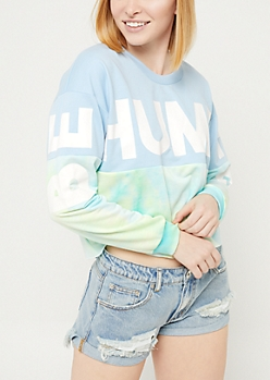 Blue Tie Dye Humble Colorblock Skimmer Sweatshirt