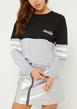 Black Hustle Colorblock Skimmer Sweatshirt