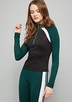 Green Colorblock Super Soft Half Zip Skimmer Top