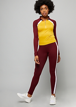 Burgundy Colorblock Super Soft Half Zip Top