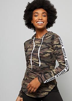 Camo Print Hustle Side Striped Super Soft Hoodie