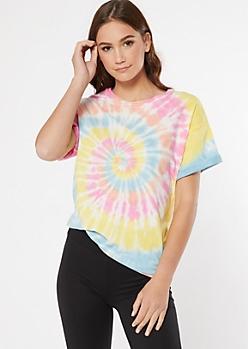 Pastel Rainbow Tie Dye Tee Shirt