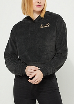 Charcoal Gray Hustle Hacci Knit Cropped Hoodie