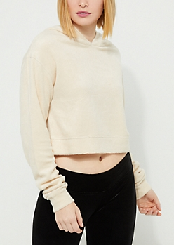 Ivory Rose Embroidered Hacci Cropped Hoodie