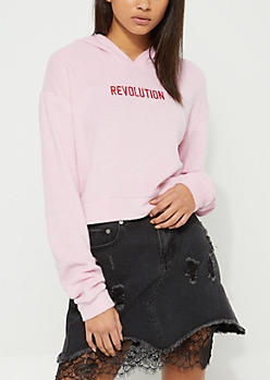 Pink Revolution Hacci Knit Cropped Hoodie