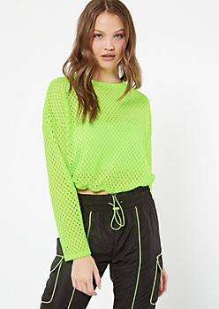 Neon Yellow Mesh Long Sleeve Tee