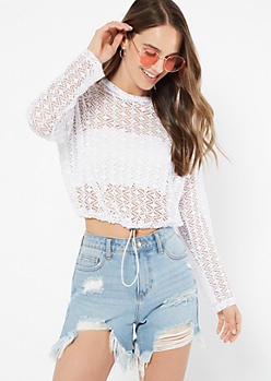 White Mesh Drawstring Hem Long Sleeve Tee