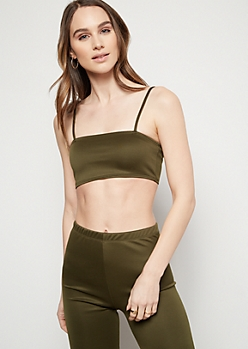 Dark Olive Cami Strap Tube Top