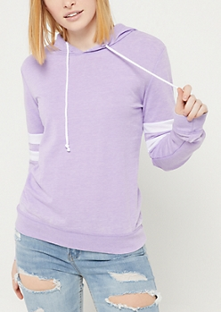 Light Purple Wash Athletic Stripe Hoodie