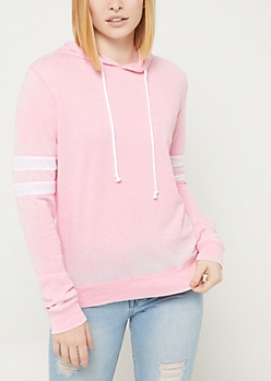 Pink Wash Athletic Stripe Hoodie