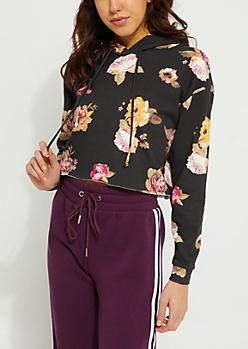 Black Floral Crop Hoodie