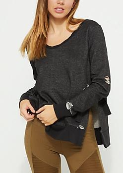 Distressed Tied Side Black Sweatshirt