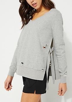 Distressed Tied Side Gray Sweatshirt