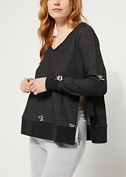 Distressed Tied Side Charcoal Gray Sweatshirt