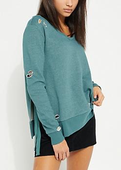 Distressed Tied Side Green Sweatshirt