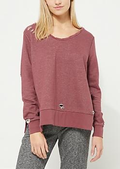 Distressed Tied Side Pink Sweatshirt